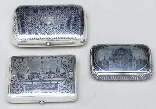 A GROUP OF THREE SILVER NIELLO