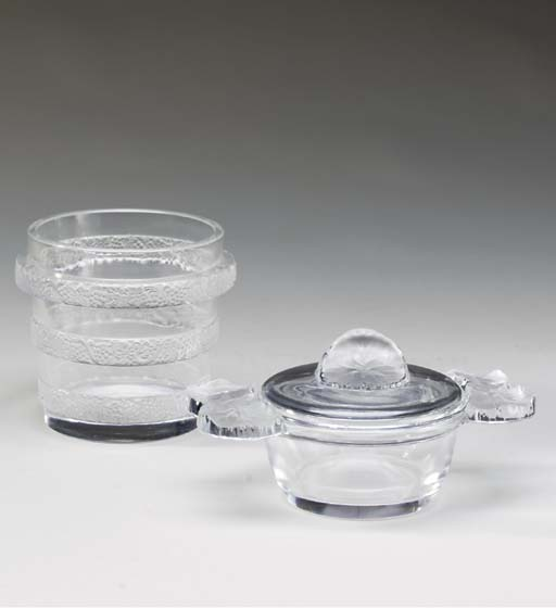 A LALIQUE TWO-HANDLED BOWL AND