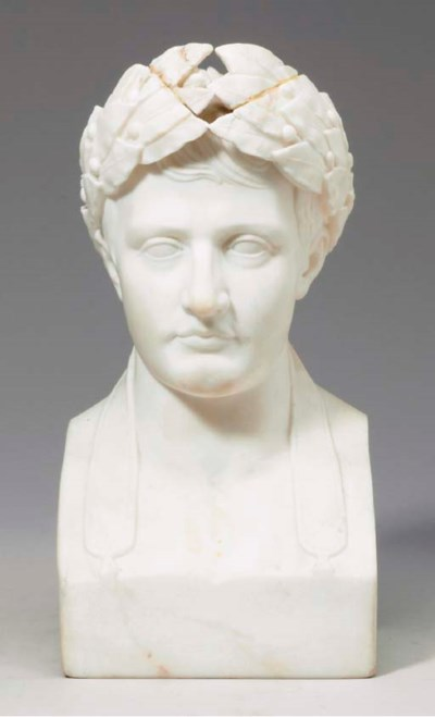 A CARVED MARBLE BUST OF NAPOLE