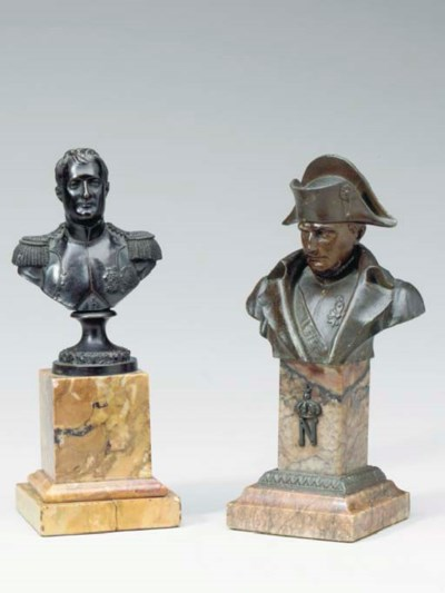 TWO PATINATED BRONZE BUSTS OF