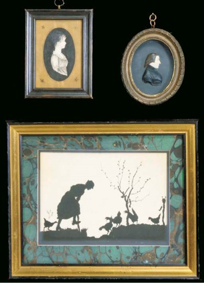 A GROUP OF SIX SILHOUETTES AND