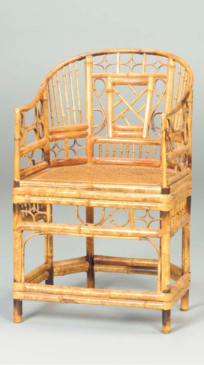 A CHINESE BAMBOO ARMCHAIR,