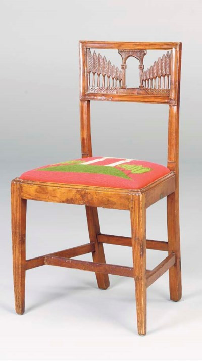 A PAIR OF WALNUT SIDE CHAIRS,