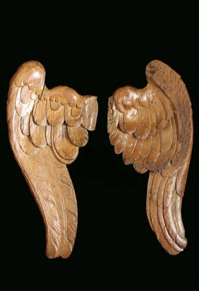 A PAIR OF CARVED HARDWOOD WING