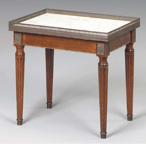 A LOUIS XVI STYLE MARBLE-TOPPE