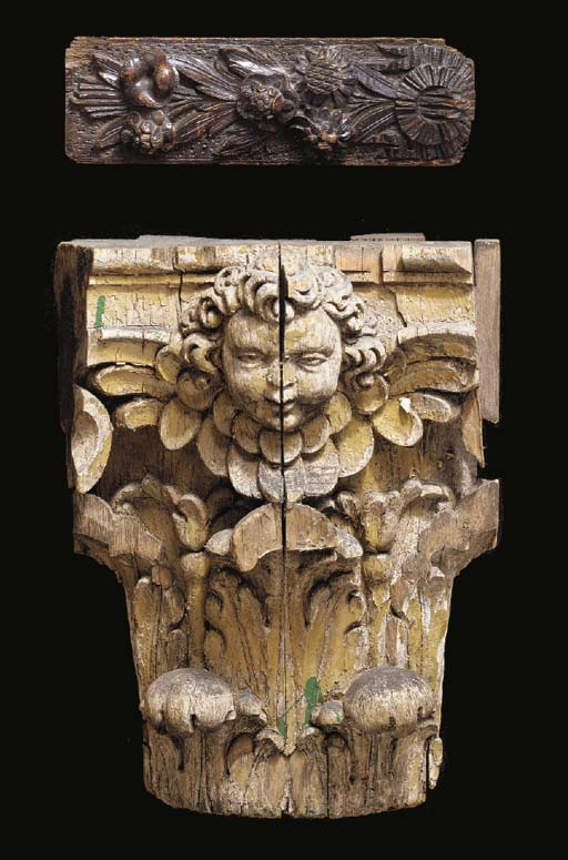 FOUR CARVED WOOD ARCHITECTURAL