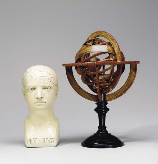 A PAINTED WOOD ARMILLARY SPHER