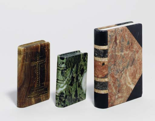 TEN VARIOUS HARDSTONE BOOK-FOR