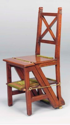A WALNUT METAMORPHIC CHAIR,