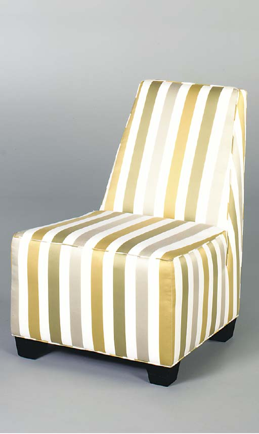 A PAIR OF STRIPED-SILK UPHOLST