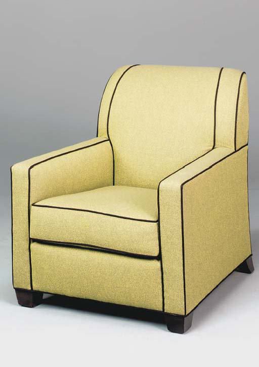 A PAIR OF GREEN WOOL UPHOLSTER