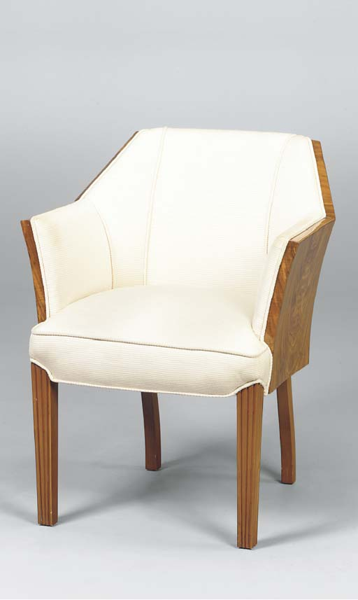 A PAIR OF ART DECO STYLE WALNU