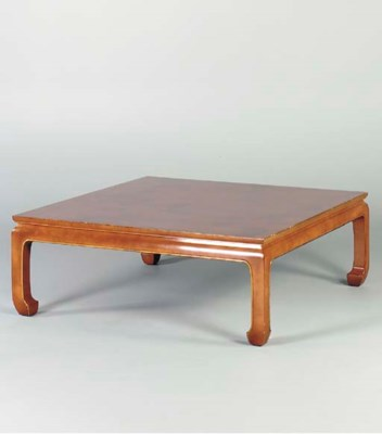 A STAINED HARDWOOD LOW TABLE,
