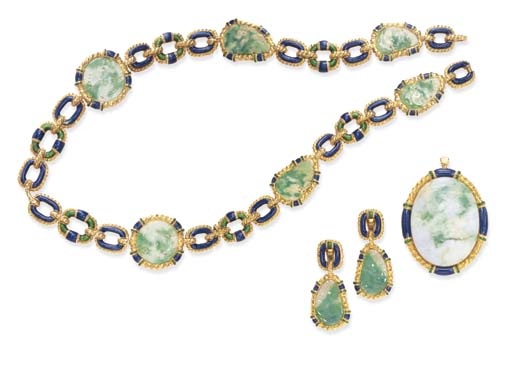 A SUITE OF JADEITE, ENAMEL AND