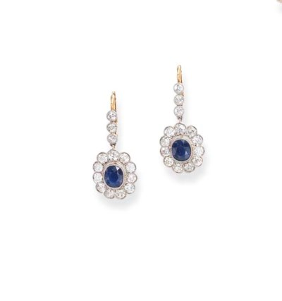 A PAIR OF ANTIQUE SAPPHIRE AND