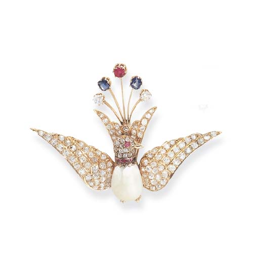 AN ANTIQUE PEARL AND GEM-SET B