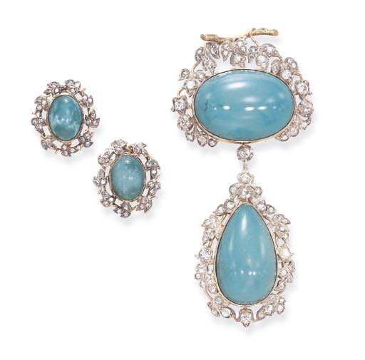 A SET OF ANTIQUE DIAMOND AND T