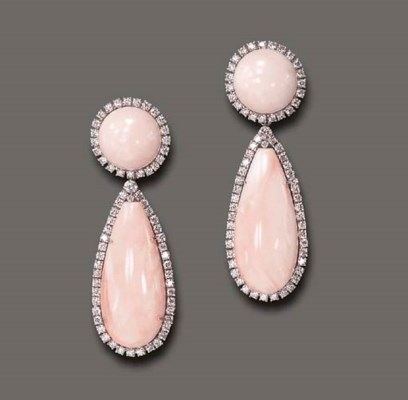 **A PAIR OF CORAL AND DIAMOND