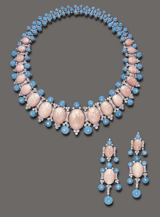 **A SUITE OF CORAL, TURQUOISE