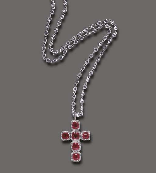A RUBY AND DIAMOND PENDANT NEC