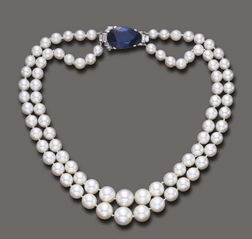 A TWO-STRAND CULTURED PEARL, S