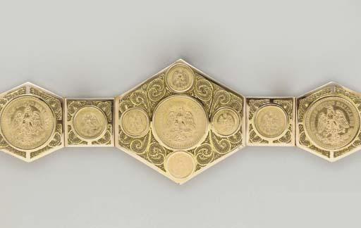 A GOLD MEXICAN COIN BELT
