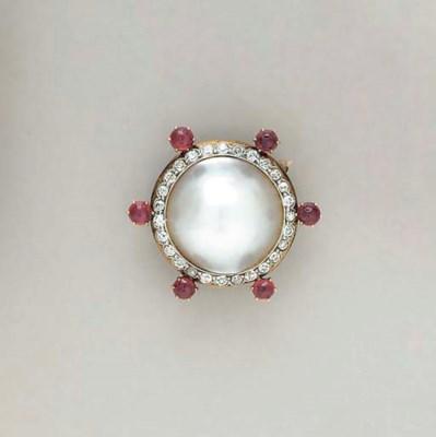A MABE PEARL, RUBY, DIAMOND AN