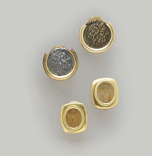 TWO PAIRS OF COIN, HARDSTONE I