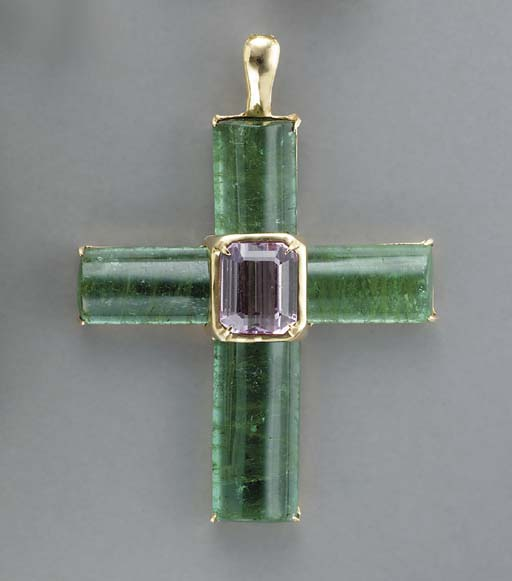 A GREEN TOURMALINE, KUNZITE AN