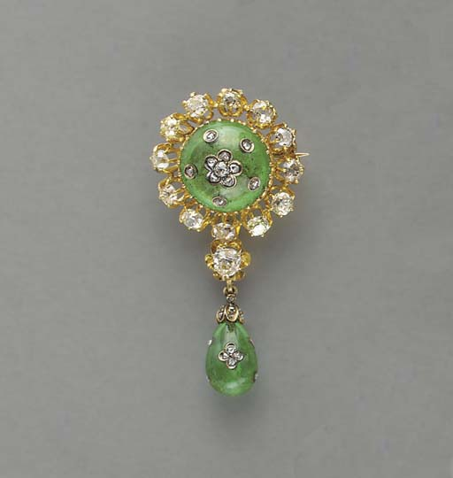 AN ANTIQUE DIAMOND, EMERALD, G