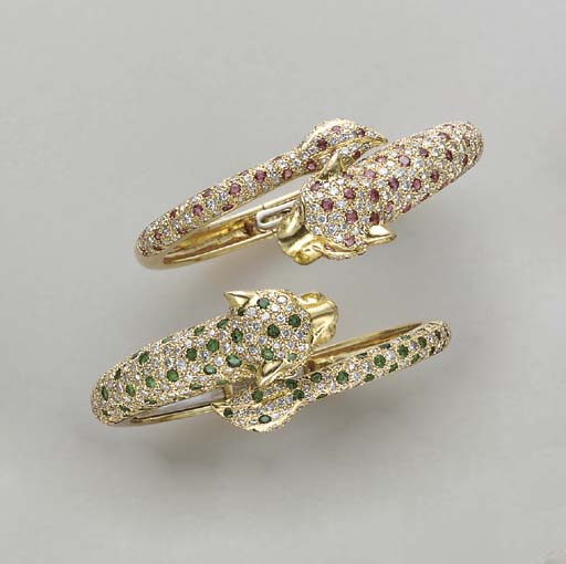 A PAIR OF DIAMOND, EMERALD, RU