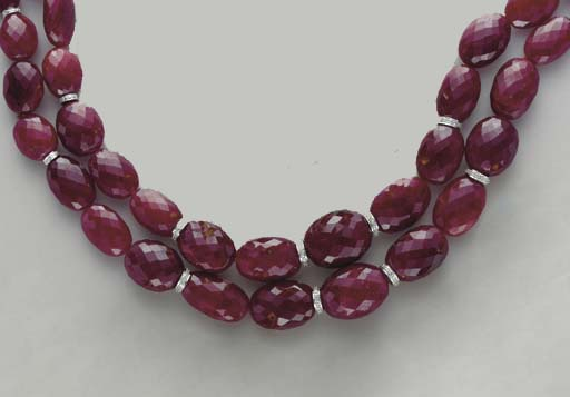 A TWO-STRAND RUBY, DIAMOND AND