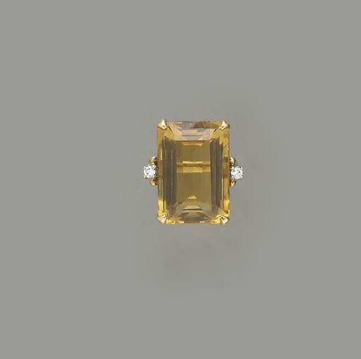 A RETRO CITRINE, DIAMOND AND 1