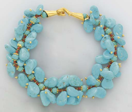 **A TURQUOISE, CORAL AND GOLD