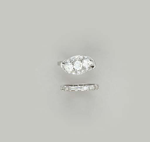 TWO DIAMOND AND PLATINUM RINGS