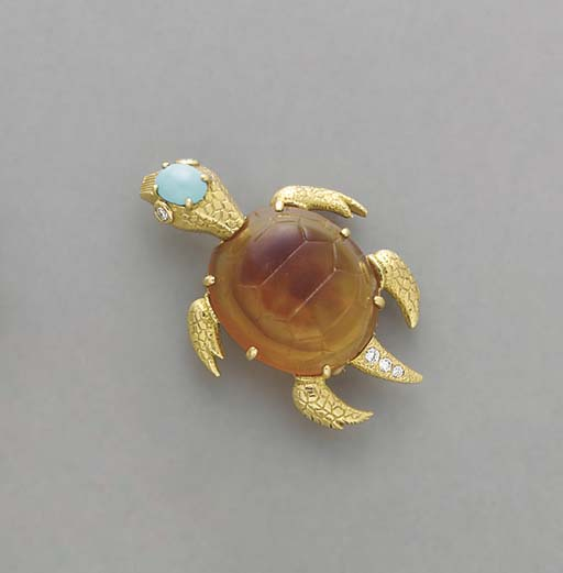 **A TORTOISE SHELL, TURQUOISE,