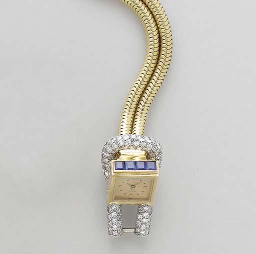 A RETRO DIAMOND, SAPPHIRE, PLA