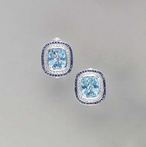 A PAIR OF BLUE TOPAZ, DIAMOND,