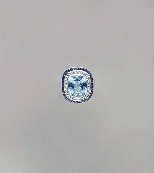 A BLUE TOPAZ, SAPPHIRE, DIAMON