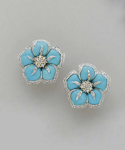 A PAIR OF TURQUOISE AND 14K GO