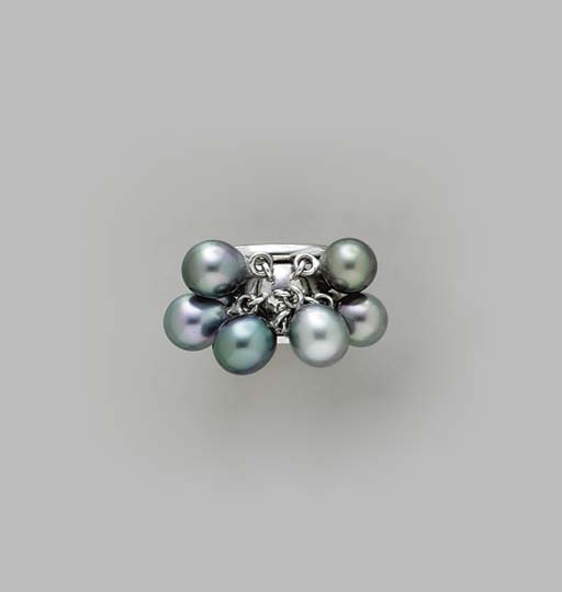 A SILVER CULTURED PEARL AND 18