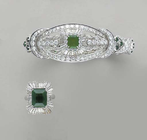 A GROUP OF SIMULATED EMERALD,