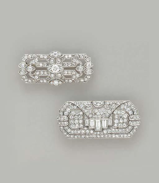 TWO ART DECO DIAMOND AND PLATI