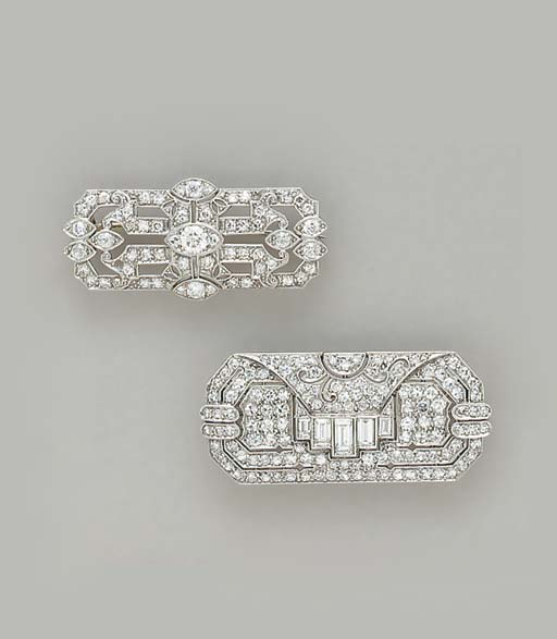 TWO ART DECO DIAMOND AND PLATINUM BROOCHES