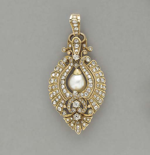 AN ANTIQUE PEARL, DIAMOND AND