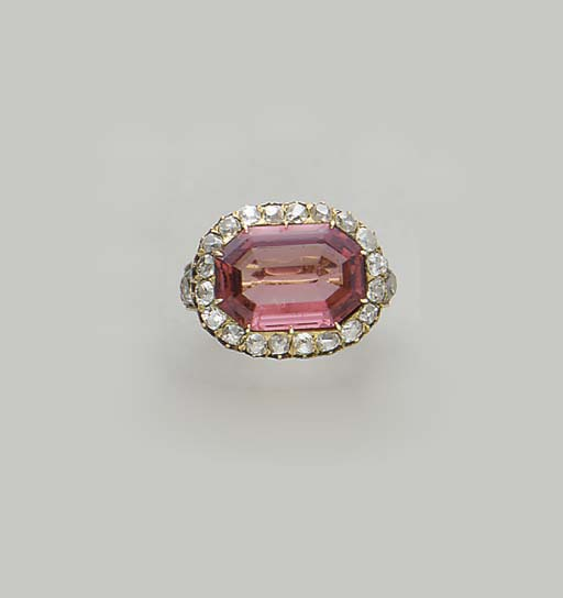 AN ANTIQUE SPINEL, DIAMOND AND