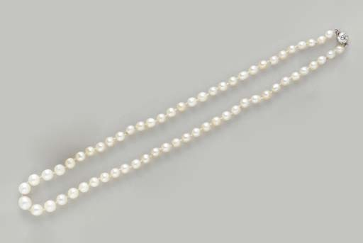 A SINGLE-STRAND NATURAL PEARL,