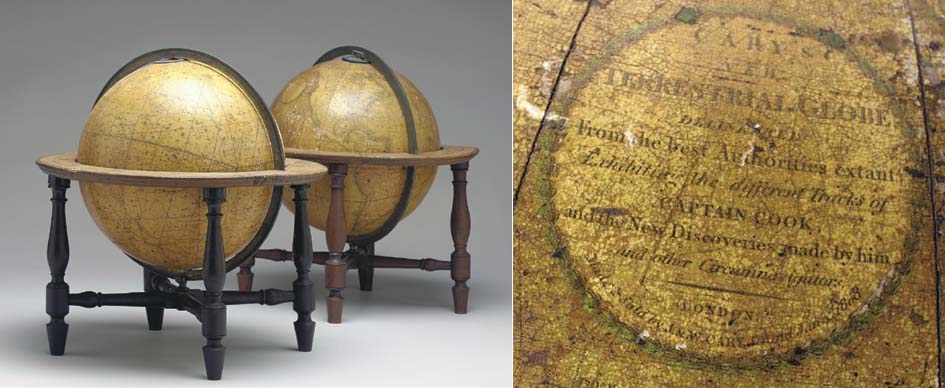 A PAIR OF REGENCY TABLE GLOBES