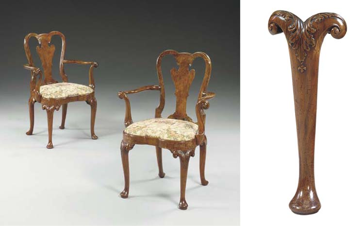 A PAIR OF GEORGE II WALNUT AND FIGURED WALNUT OPEN ARMCHAIRS