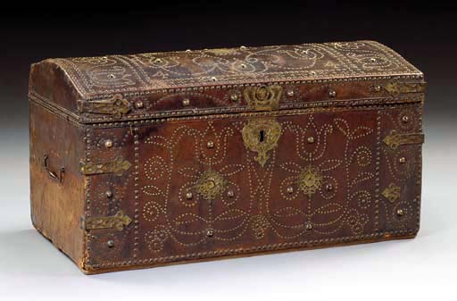 A GEORGE II BRASS-MOUNTED LEATHER TRUNK*